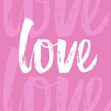 Lettering love. Hand draw lettering in vector. Texture of brushpen. Dry brush texture. Text love on pink background. For print design, web and social nets Stock Photography