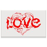 Lettering love with heart. Lettering love whith heart. Calligraphy postcard or poster graphic design typography element. Hand written vector style happy Stock Photography