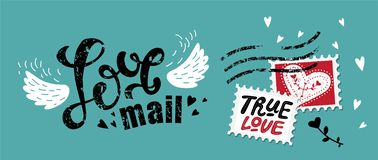 Lettering Love mail. In the form of postage stamp postage stamps with love quotes: True love, Love forever. For design on Valentine`s Day or wedding printing royalty free illustration