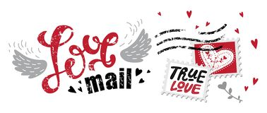 Lettering Love mail. In the form of postage stamp postage stamps with phrases about love: True love, Love forever. For design on Valentine`s Day or wedding vector illustration