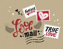 Lettering Love mail. In the form of postage stamp postage stamps with phrases about love: True love, Love forever. For design on Valentine`s Day or wedding stock illustration