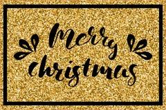 Lettering marry christmass on golden glitter background. Vector illustration. Lettering marry christmass on golden glitter background with a black frame Stock Photo