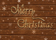 Lettering Merry Christmas on the background of boards. Illustration of lettering Merry Christmas on the background of boards Royalty Free Stock Photo