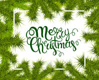 Lettering merry Christmas frame of fir branches. Illustration. 10 eps Royalty Free Stock Image