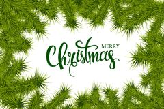 Lettering merry Christmas frame of fir branches. Illustration. 10 eps Royalty Free Stock Photo