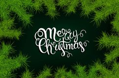 Lettering merry Christmas frame of fir branches. Illustration. 10 eps Royalty Free Stock Images