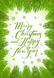 Lettering Merry Christmas and Happy New Year with fir tree brunc. Christmas theme with holiday decorations on a green background with decorative spruce branches Royalty Free Stock Image