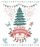 Merry Christmas and Happy New Year frame. Lettering merry Christmas and a Happy New year on a red ribbon and festive decorations: garland, socks with presents Royalty Free Stock Photos