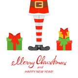 Lettering Merry Christmas and Happy New Year with Santa legs in. Striped socks and black shoes and gifts isolated on white background, illustration Royalty Free Stock Images