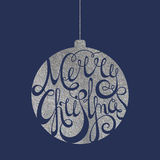 Lettering Merry Christmas in silver ball Stock Photography