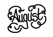 Lettering for the month of August. Lettering design created for use on the month of August Royalty Free Stock Photos