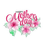 Lettering Mothers Day. Hand-drawn card with watercolor imitation and ink pink flower. Vector illustration EPS 10 Stock Photography