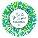 Lettering motivation quote text sign Rio de Janeiro welcome to brazil 2016. Template felicitation card, poster on. Lettering motivation quote text sign Rio de Stock Photos