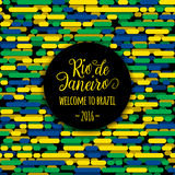 Lettering motivation quote text sign Rio de Janeiro welcome to brazil 2016. Template felicitation card, poster, banner. On seamless creative line flag color Stock Image