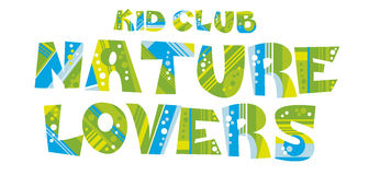 Lettering nature eco style lettering for kid club. Royalty Free Stock Photo