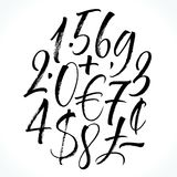 Lettering numbers. Brush lettering numbers, punctuation and currency symbols. Modern calligraphy, handwritten letters. Vector illustration Royalty Free Stock Image
