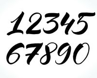 Lettering numbers. Brush lettering numbers. Modern calligraphy, handwritten letters. Vector illustration Royalty Free Stock Photography