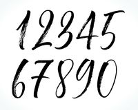 Lettering numbers. Brush lettering numbers. Modern calligraphy, handwritten letters. Vector illustration Stock Photo
