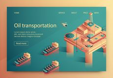 Lettering Oil Transportation Vector Illustration. New Design Tankers Transport Oil Products by Sea. Motion Parameters are Monitored with Usable Aviation. Oil vector illustration