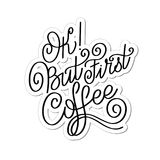 Lettering Ok but first coffee. Calligraphic hand drawn sign. Coffee quote. Text for prints and posters, menu design, greeting cards. Vector illustration Royalty Free Stock Photo