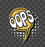 Lettering Oops Gold sparkle comic text Royalty Free Stock Photos