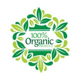 Lettering 100% organic product in leaf frame Royalty Free Stock Image