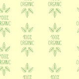 Lettering 100% organic, Seamless pattern 2. Seamless pattern with repeating green colored sprout on green lettering 100% organic Royalty Free Illustration