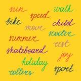 lettering Palavras do verão da cor Vetor Fotografia de Stock