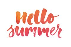 Lettering with phrase Hello summer. Vector illustration. watercolor vector illustration