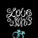 Lettering. The phrase Love wins and gender signs on a black background. Vector illustration lettering. Modern design for wedding invitations, printing on T Royalty Free Stock Photo