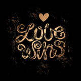 Lettering. The phrase Love wins. Gold stamping on a black background. Vector illustration lettering. Designed for wedding invitations, printing on T-shirts Royalty Free Stock Photos