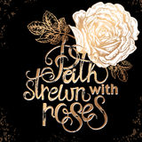 Lettering. The phrase Love wins. Stamping on a black background with gold rose. Vector illustration lettering. Designed for wedding invitations, printing on T Royalty Free Stock Images