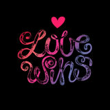Lettering. The phrase Love wins. Stamping on a black background. Vector illustration lettering. Designed for wedding invitations, printing on T-shirts Royalty Free Stock Photo