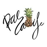 Lettering phrase - Paradise. Composition with watercolor hand drawn ananas. Background for food packaging, cards posters. Isolated on white royalty free illustration