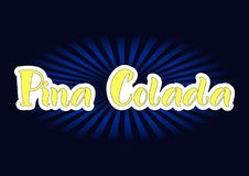 Lettering of Pina Colada in yellow with white outlines on dark background Royalty Free Stock Photography