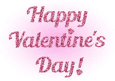Lettering from pink glitter on Valentine's day Stock Photo