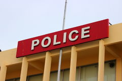 Lettering. Police station sign in Thailand Stock Image