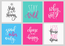 Lettering  postcard quotes set Royalty Free Stock Images