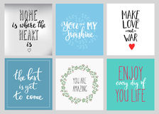 Lettering postcard quotes set. Motivational quote. Sweet cute inspiration typography. Calligraphy photo graphic design element. Hand written sign. My sunshine Royalty Free Stock Photography