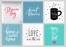 Lettering postcard quotes set Stock Photography