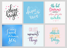 Lettering postcard quotes set Stock Image