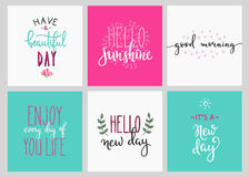 Lettering  postcard quotes set Royalty Free Stock Image
