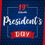 Lettering Presidents day greeting card blue stars. Happy President`s Day 19th february for web banner special offer vector illustration Stock Photo
