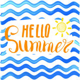 Lettering quote hello summer. Hand drawn Sketch typographic design sign, Vector Illustration on color lines background Stock Photography