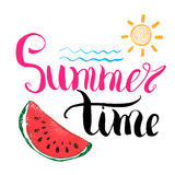 Lettering quote summer time. Hand drawn Sketch typographic design sign, Vector Illustration on color lines background Stock Photography