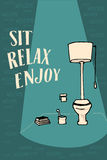 Lettering Relax and enjoy. Interior image, WC art. Royalty Free Stock Photo