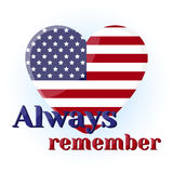 Lettering Always remember with american flag in heart shape. Icon for your design  on blue background in cartoon Royalty Free Stock Photos