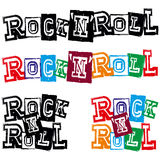 Lettering rock and roll. Vector illustration grunge lettering rock and roll for white background. Сolor and black and white version. Used fonts look in my Royalty Free Stock Photos