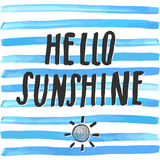 Lettering romantic summer quote hello sunshine. Hand drawn Sketch typographic design sign, Vector Illustration on color lines back. Ground Royalty Free Stock Photos