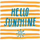 Lettering romantic summer quote hello sunshine. Hand drawn Sketch typographic design sign, Vector Illustration on color lines back Royalty Free Stock Photography